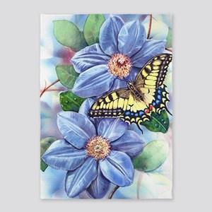 Watercolor Butterfly 5'x7'Area Rug
