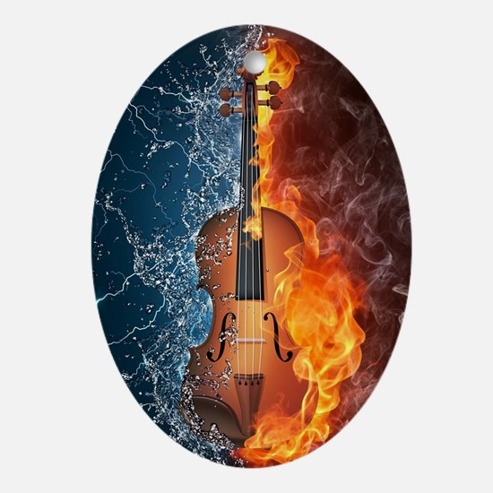 Fire and Water Violin Oval Ornament