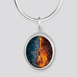Fire and Water Violin Silver Oval Necklace