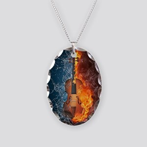 Fire and Water Violin Necklace Oval Charm