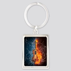 Fire and Water Violin Portrait Keychain