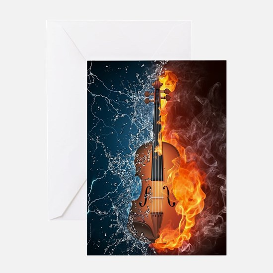 Fire and Water Violin Greeting Card