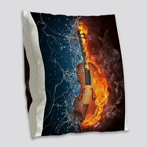 Fire and Water Violin Burlap Throw Pillow