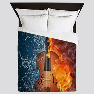 Fire and Water Violin Queen Duvet