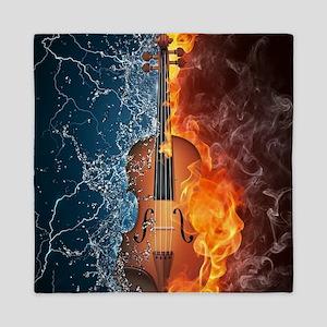 Fire and Water Violin Queen Duvet