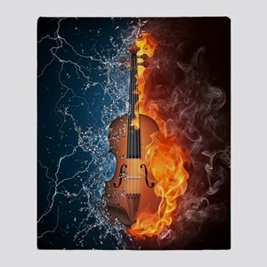 Fire and Water Violin Throw Blanket