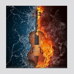 Fire and Water Violin Tile Coaster