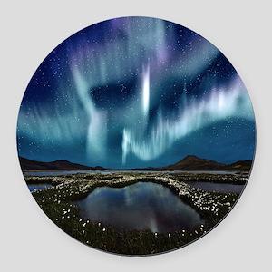 Northern Lights Round Car Magnet