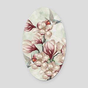 Magnolia Colibries Oval Car Magnet