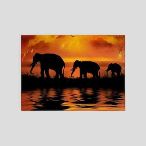 Elephant Safari 5'x7'Area Rug