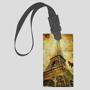 Eiffel Tower Grunge Large Luggage Tag