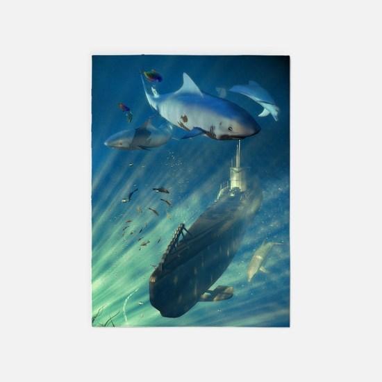Submarine and Sharks 5'x7'Area Rug