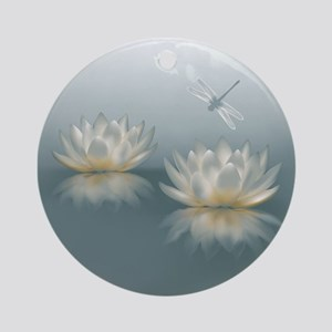 Lotus and Dragonfly Round Ornament