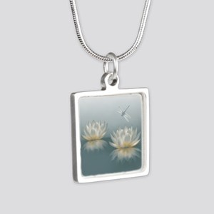 Lotus and Dragonfly Silver Square Necklace