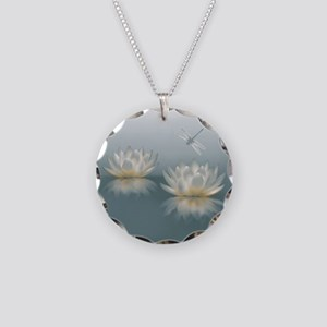 Lotus and Dragonfly Necklace Circle Charm