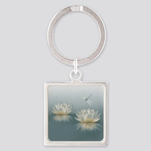 Lotus and Dragonfly Square Keychain
