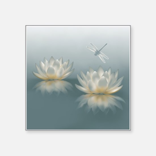 """Lotus and Dragonfly Square Sticker 3"""" x 3"""""""