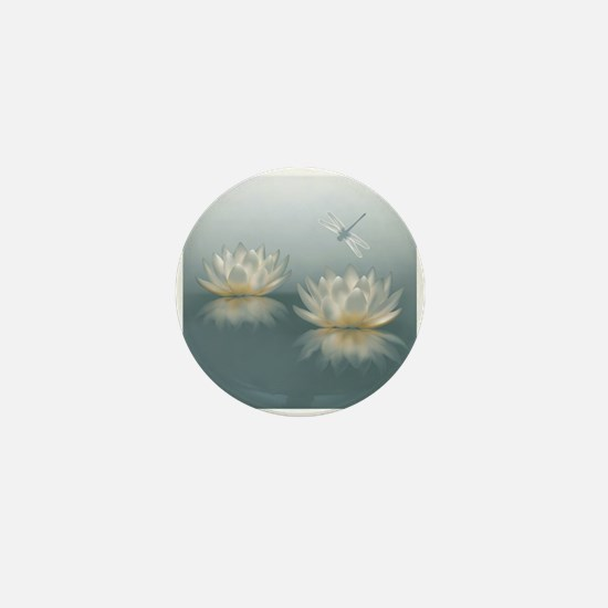 Lotus and Dragonfly Mini Button