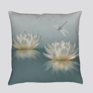 Lotus and Dragonfly Everyday Pillow