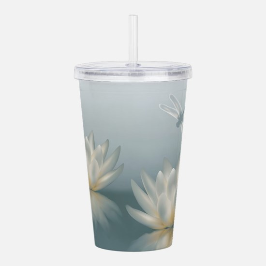 Lotus and Dragonfly Acrylic Double-wall Tumbler