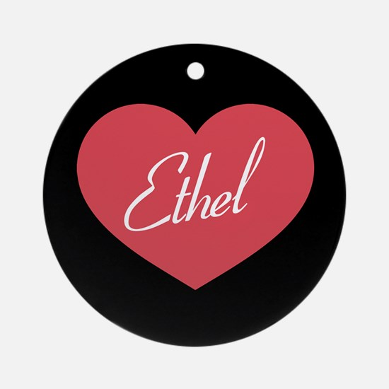 I Love Lucy Ethel Heart Round Ornament