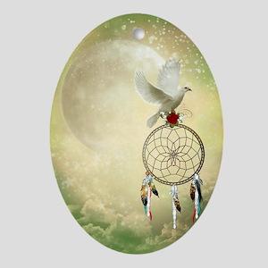 Dove Dreamcatcher Oval Ornament