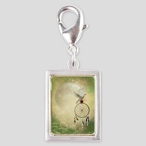 Dove Dreamcatcher Silver Portrait Charm