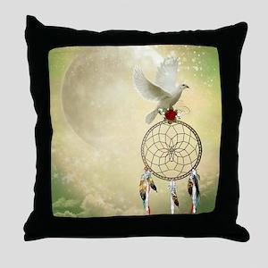 Dove Dreamcatcher Throw Pillow