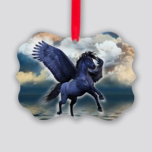 Black Pegasus Picture Ornament