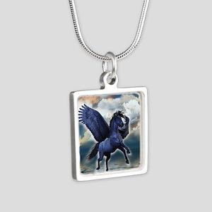 Black Pegasus Silver Square Necklace