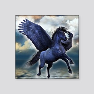 "Black Pegasus Square Sticker 3"" x 3"""