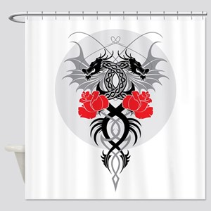 Dragons and Roses Shower Curtain