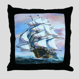 Sail Ship Painting Throw Pillow