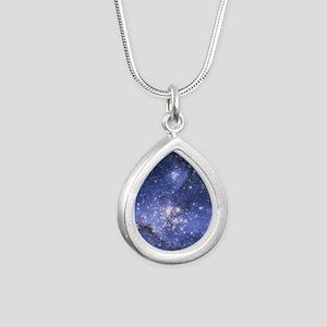 Magellan Nebula Silver Teardrop Necklace