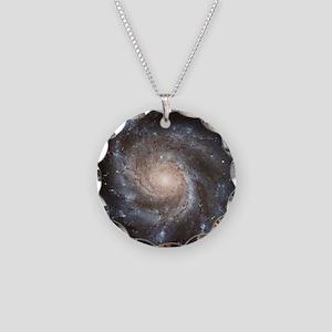 Spiral Galaxy (M101) Necklace Circle Charm