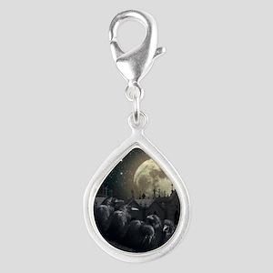 Gothic Crows Silver Teardrop Charm