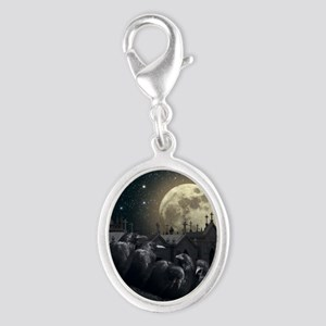 Gothic Crows Silver Oval Charm