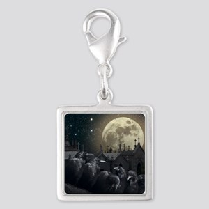 Gothic Crows Silver Square Charm
