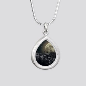 Gothic Crows Silver Teardrop Necklace
