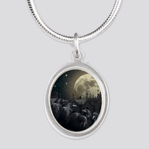Gothic Crows Silver Oval Necklace