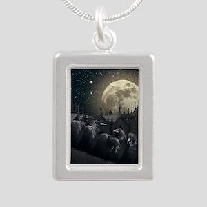 Gothic Crows Silver Portrait Necklace