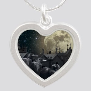 Gothic Crows Silver Heart Necklace