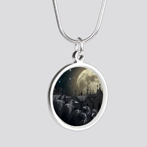 Gothic Crows Silver Round Necklace