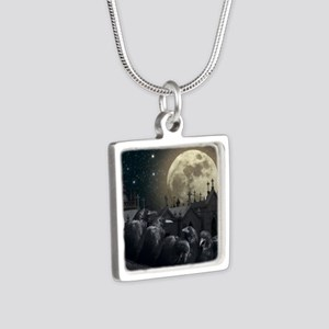 Gothic Crows Silver Square Necklace