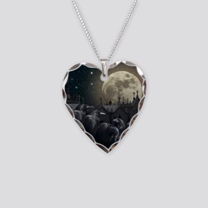 Gothic Crows Necklace Heart Charm