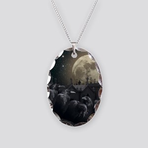 Gothic Crows Necklace Oval Charm