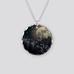 Gothic Crows Necklace Circle Charm
