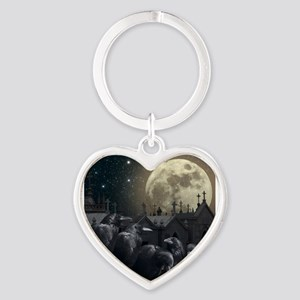Gothic Crows Heart Keychain