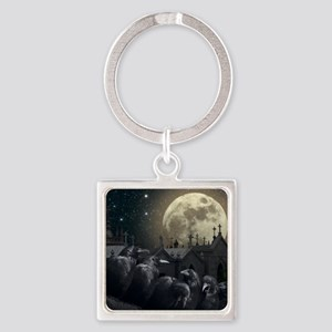Gothic Crows Square Keychain