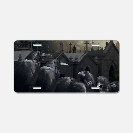 Gothic Crows Aluminum License Plate